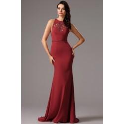 Společenské elegantní bordó šaty s průsvitnými sexy zády zdobeny vinage  knoflíčky cdb6310033