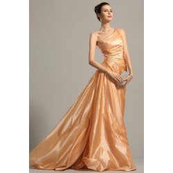 f236440368a Společenské elegantní jednoduché oranžové řasené šaty na jedno rameno