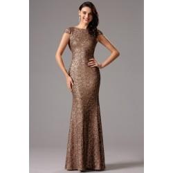 Společenské noblesní celo-flitrové hnědé šaty s odhalenými zády