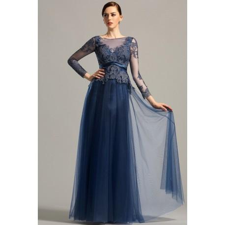 07000611f450 Společenské elegantní námořnicky modré krásné šaty s dlouhým rukávem z  krajky a tylu