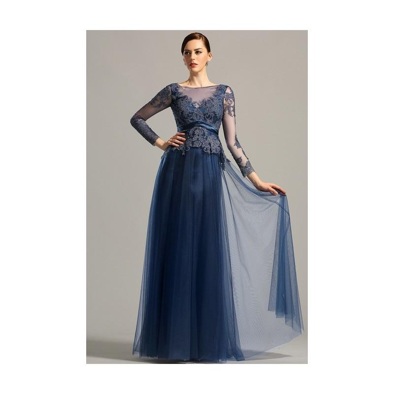 0b66861269a5 Společenské elegantní námořnicky modré krásné šaty s dlouhým rukávem z  krajky a tylu ...