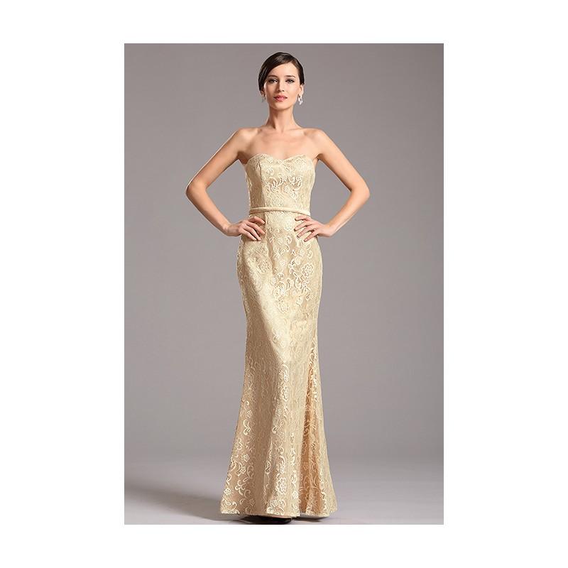 d0fc6a56684 Celokrajkové elegantní béžovo- zlaté jednoduché úzké šaty bez ramínek ...