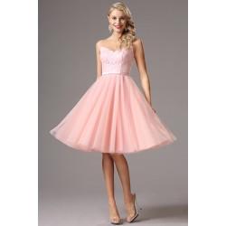 Rozkošné dívčí společenské světle růžové šatičky s tylovou krátkou sukní a krajkovým živůtkem