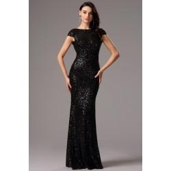 Společenské noblesní celo-flitrové černé šaty s odhalenými zády
