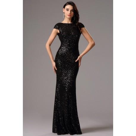 Společenské noblesní celo-flitrové černé šaty s odhalenými zády ... 6609b50876