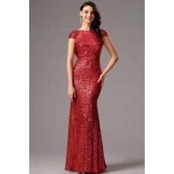 Společenské noblesní celo-flitrové červené šaty s odhalenými zády