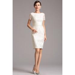 Společenské krátké velice půvabné celokrajkové bílé pouzdrové šaty