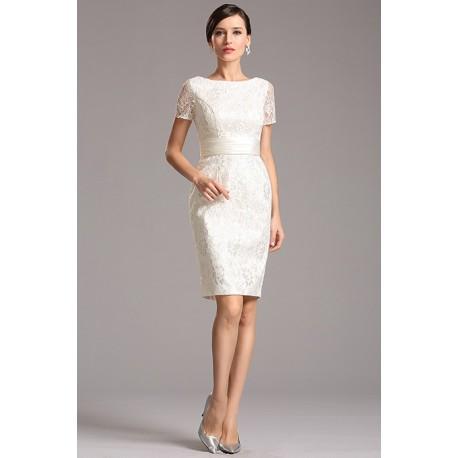 5b32b4f6965a Společenské krátké velice půvabné celokrajkové bílé pouzdrové šaty ...