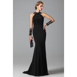 Ojedinělé večerní dech beroucí luxusní černé šaty s krajkovou dekorací a mašličkou na zádech
