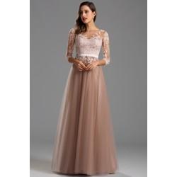 Krajkové společenské světlounce hnědé půvabné šaty s dlouhým rukávem a tylovou sukní