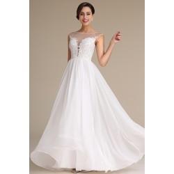 Svatební nádherné bílé šaty s krajkou zdobeným průsvitným topem