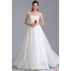 Svatební nádherné bílé šaty s luxusně zdobeným průsvitným živůtkem