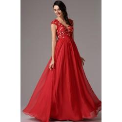 6e0377f9911 Společenské nové červené dlouhé šaty s ručně zdobeným živůtkem