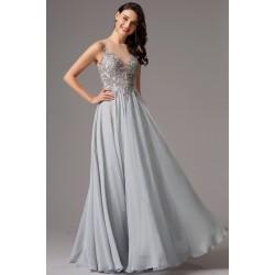 Společenské nové elegantní šedé dlouhé šaty s ručně zdobeným živůtkem