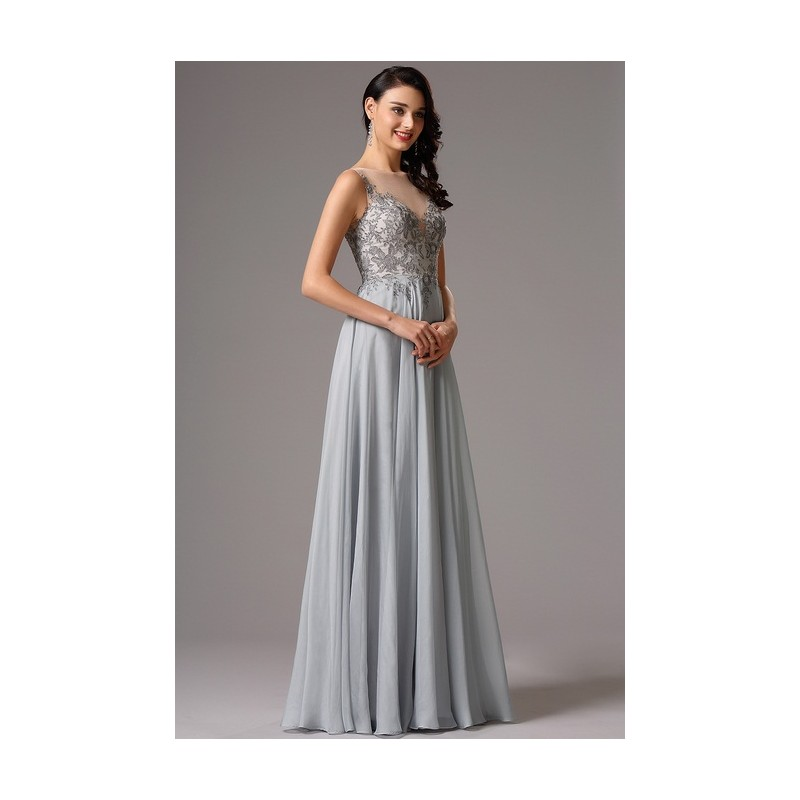 259fbe3e625 ... Společenské nové elegantní šedé dlouhé šaty s ručně zdobeným živůtkem  ...
