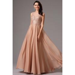 Společenské nové elegantní světle hnědo růžové dlouhé šaty s ručně zdobeným živůtkem