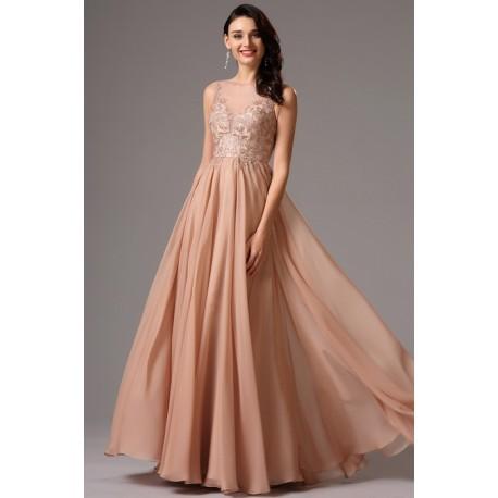 Společenské nové elegantní světle hnědo růžové dlouhé šaty s ručně zdobeným  živůtkem 3ffc5da32f