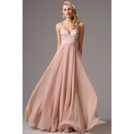 fecb6a38f956 Společenské elegantní světle růžové dlouhé šaty bez rukávů s ručně zdobeným  živůtkem