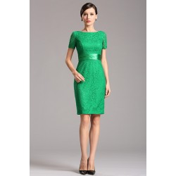 Krajkové zelené krátké pouzdrové šaty s krátkým rukávem a saténovým pásečkem