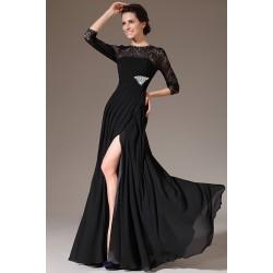 Společenské velmi oblíbené elegantní černé šaty s dlouhým rukávem, krajkou a kamínkovou broží