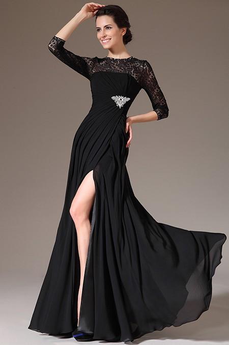 8002bb6a3911 Společenské velmi oblíbené elegantní černé šaty s dlouhým rukávem ...