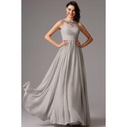 Společenské jednoduché dlouhé šedé půvabné šaty s průsvitným zdobeným dekoltem