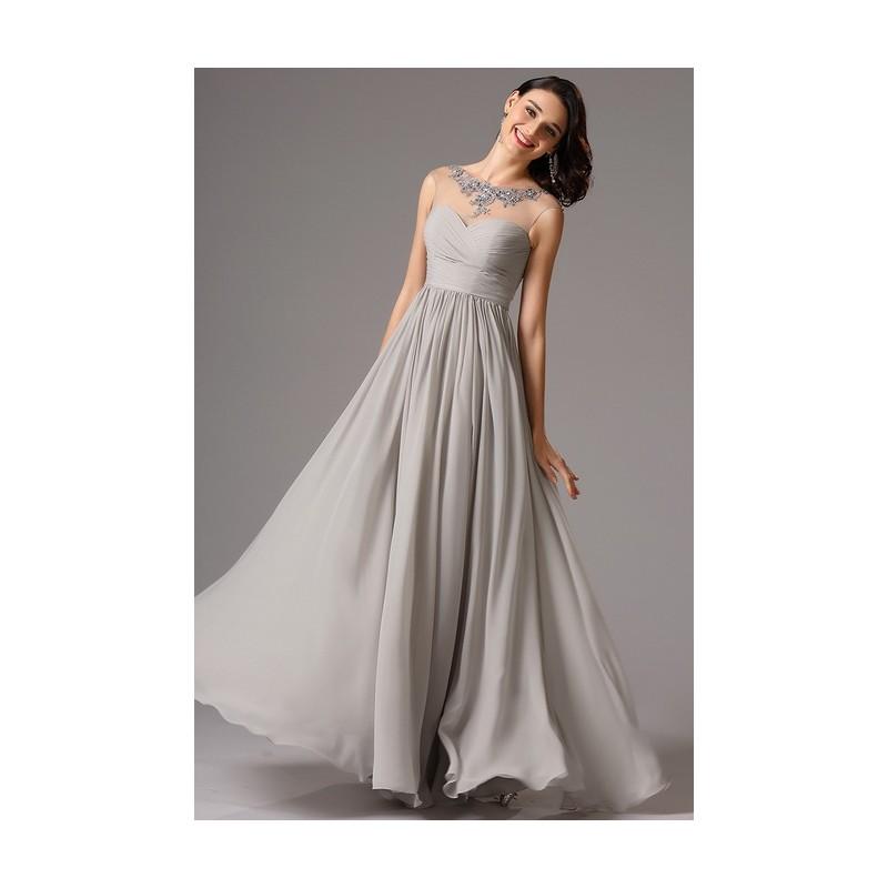 72bdbbdbbb5 ... Společenské jednoduché dlouhé šedé půvabné šaty s průsvitným zdobeným  dekoltem ...
