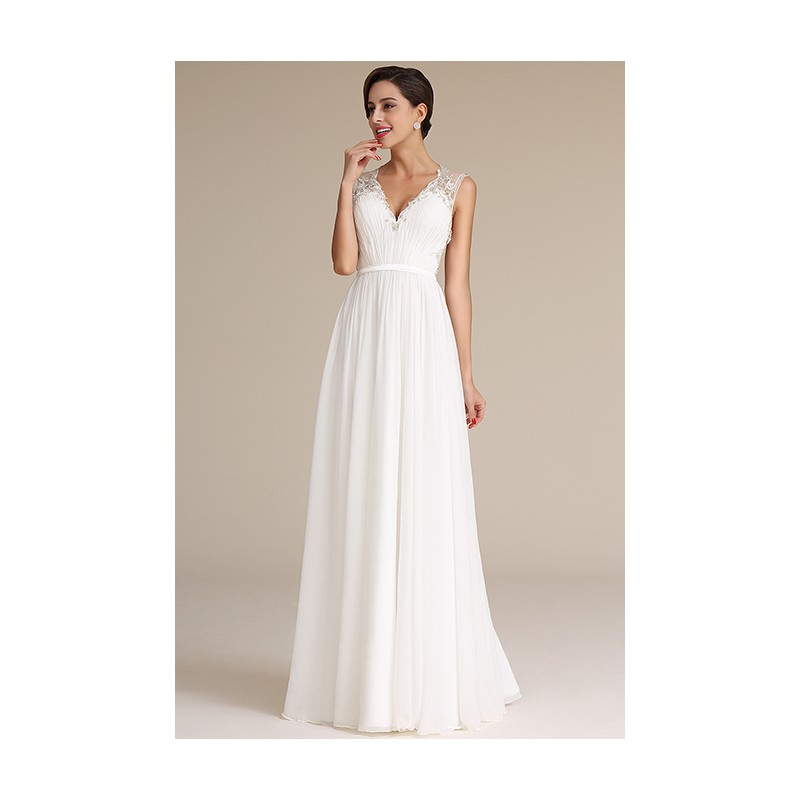 Svatební nové splývavé bílé šaty s nádherně zdobenými průsvitnými zády a véčkovým  výstřihem ... 3317b5baa3
