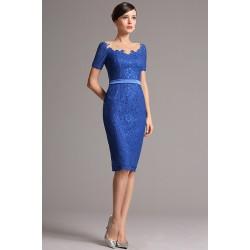 Společenské krajkové přitažlivé nádhereně modré šaty s krátkým rukávem a sexy průsvitným dekoltem a zády