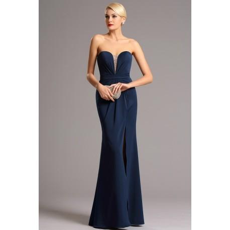 cb09db7ce602 Společenské elegantní tmavě modré dlouhé šaty bez ramínek s rafinovaným  zdobeným průsvitným prvkem v dekoltu