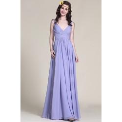 Společenské dlouhé romatnické lila krásné šaty s hlubším véčkovým výstřihem a úzkými ramínky