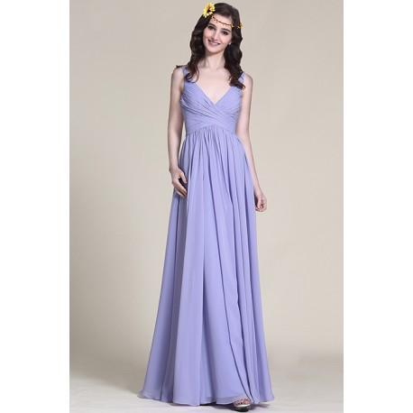 Společenské dlouhé romatnické lila krásné šaty s hlubším véčkovým výstřihem  a úzkými ramínky a5b365f9f3