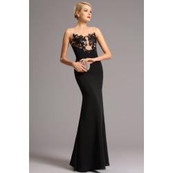Společenské dlouhé černé přitažlivé a uhrančivé šaty s průsvitným černými flitry zdobeným živůtkem