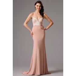 Společenské velice ženské a přitažlivé starorůžové šaty s krásně zdobeným živůtkem se špagetovými ramínky