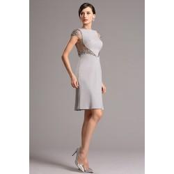 Společesnké krátké šedé luxusní šatičky ručně zdobené na tylu překrásnými kamínky v tónu