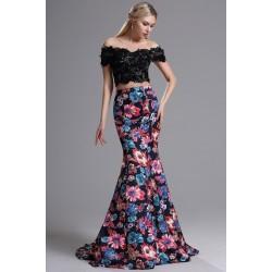 Překrásná dlouhá květovaná sexy sukně s černým krajkovým topem zdobeným flitry