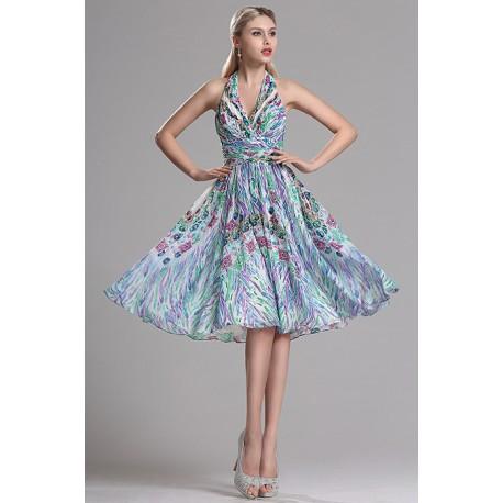 Společenské krátké překrásné paví šaty s véčkovým výstřihem a svůdnými holými zády
