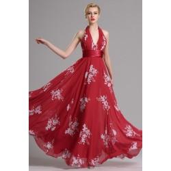 Společenské červené přitažlivé dlouhé šaty s potiskem bílých květin a svůdnými holými zády