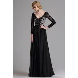 Společenské nádherné černé šaty s krajkovým stříbrným topem a dlouhým  rukávem 853dfb4fc85