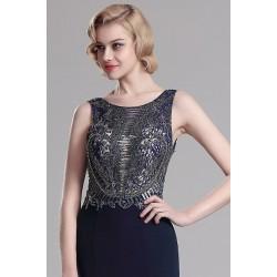 Společenské překrásné a luxusní tmavě modré šaty s topem jako klenot