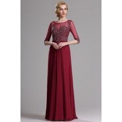 Společenské překrásné a luxusní bordó šaty s topem jako klenot a dlouhými rukávy