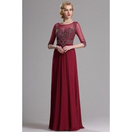 d12248b634e5 Společenské překrásné a luxusní bordó šaty s topem jako klenot a dlouhými  rukávy