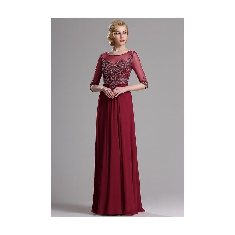 b7a9438d66f Společenské překrásné a luxusní bordó šaty s topem jako klenot a dlouhými  rukávy ...