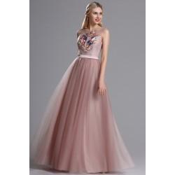Překrásné společenské tylové světle hnědé šaty s květinovou barevnou  výšivkou na topu 2b9a7913ed