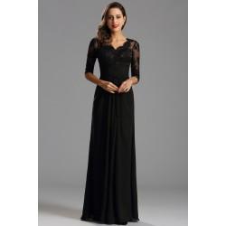 Společenské dlouhé černé šaty s krajkovým živůtkem a dlouhým rukávem