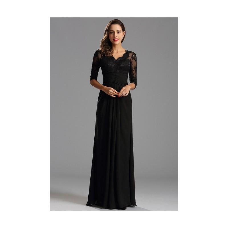 c12b1d20add Společenské dlouhé černé šaty s krajkovým živůtkem a dlouhým rukávem ...