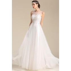 Svatební bílé jenoduché a nádherné tylové šatičky s krajkovým topem a vintage knoflíčky na zádech
