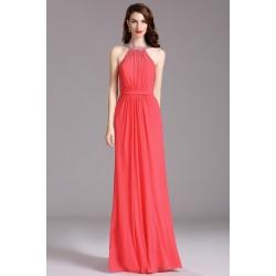 Krásné korálově červené dlouhé šaty s antickým zapínáním za krk