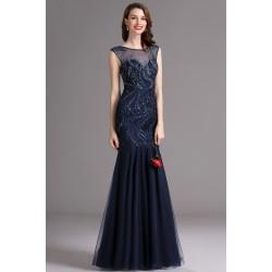 Překrásné tmavě modré nebo šedozelené tylové šaty ručně posázeny kamínky