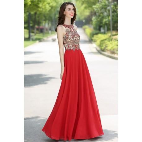 Překrásné společesnké dlouhé červené nebo fialové šaty s ručně zdobeným  topem 1305f6284a